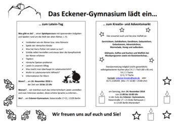 Das Eckener-Gymnasium lädt zum Kreativ und Adventsmarkt